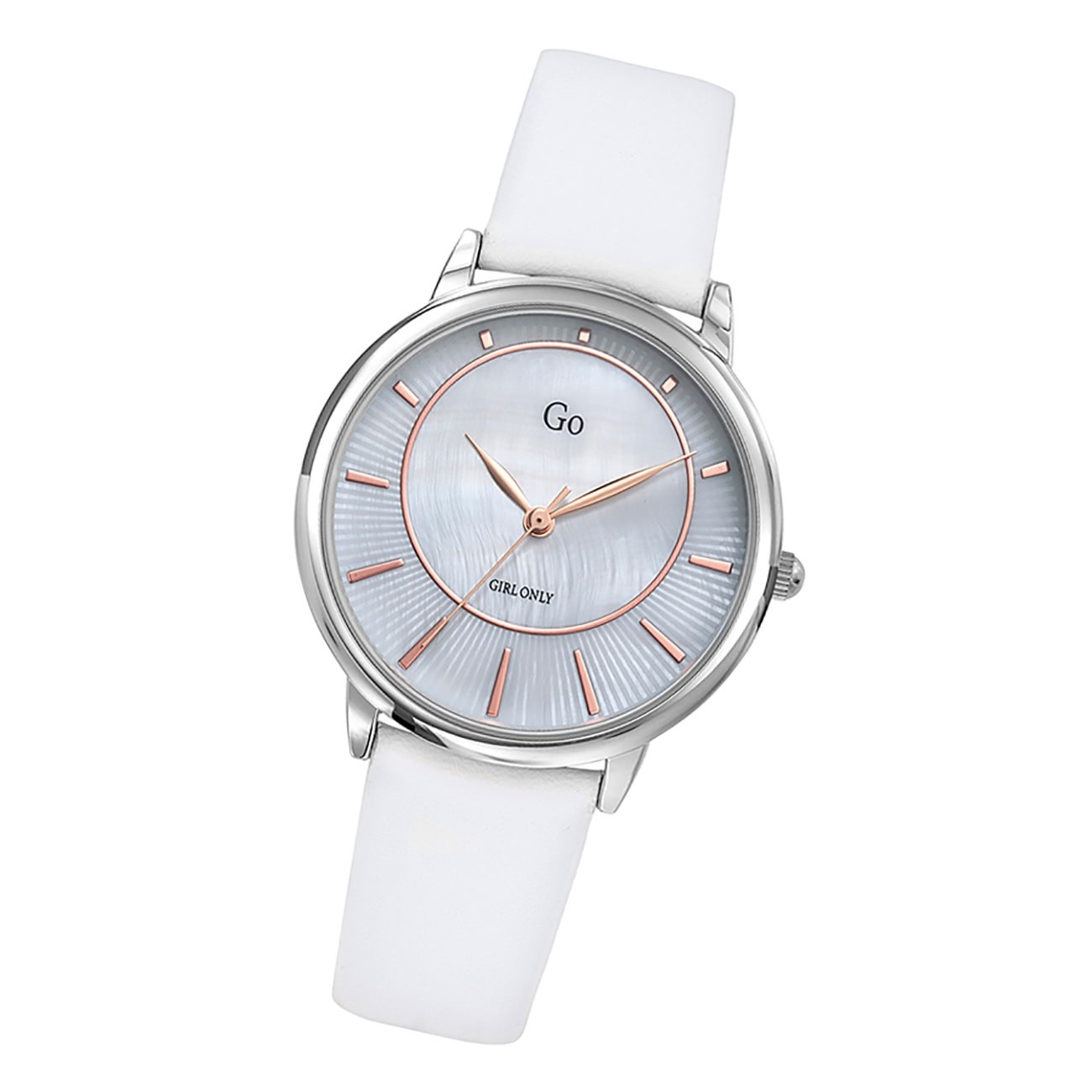 Girl Only Damen Armbanduhr GO 699322 Analog Quarz Uhr Leder weiß UGO699322