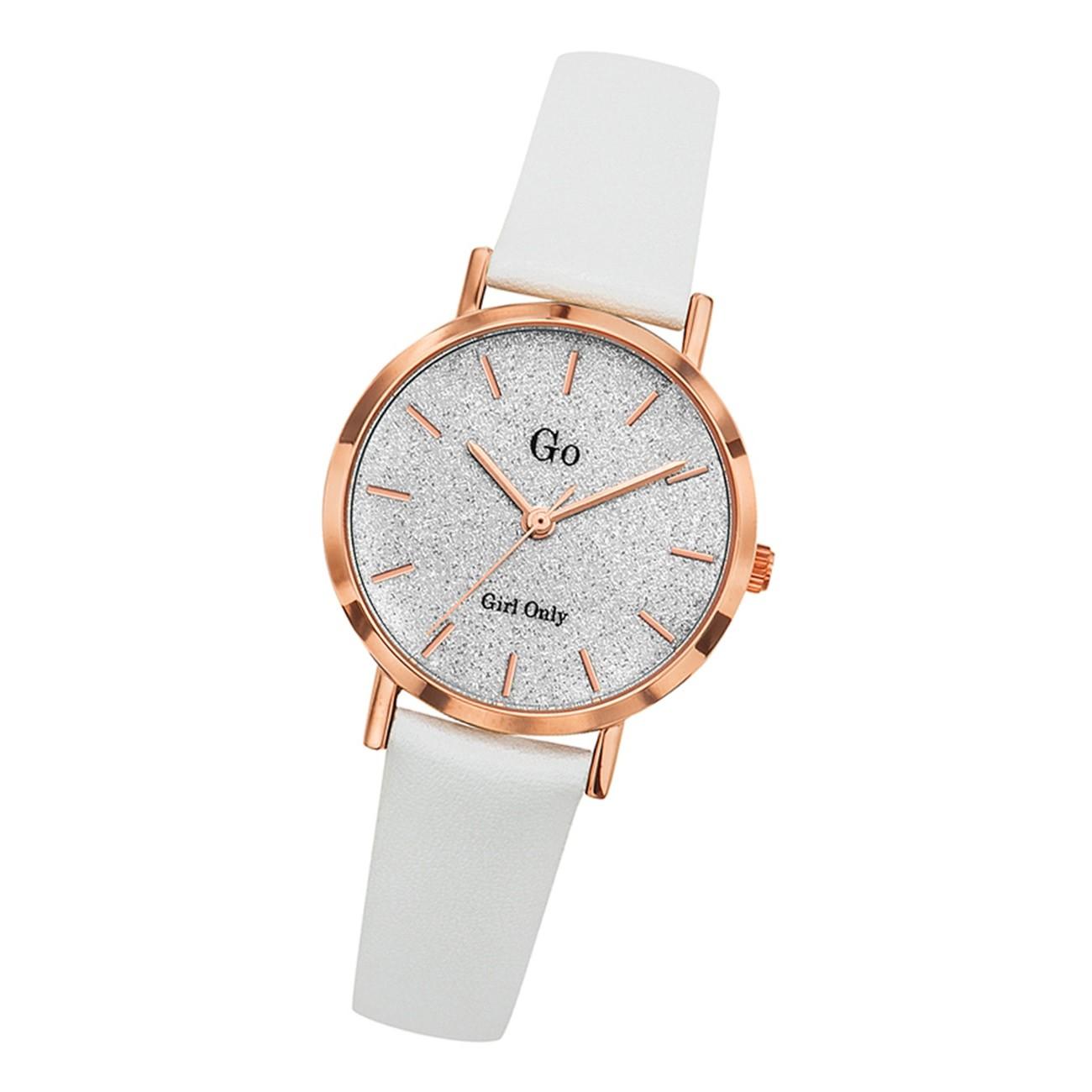 Girl Only Damen Armbanduhr GO 699901 Analog Quarz Uhr Leder weiß UGO699901