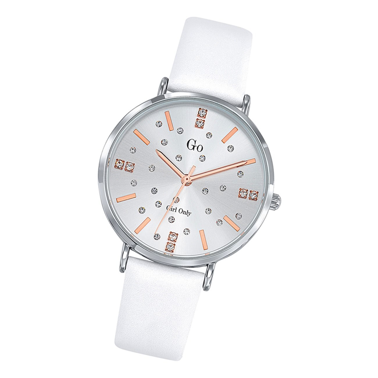 Girl Only Damen Armbanduhr GO 699933 Analog Quarz Uhr Leder weiß UGO699933