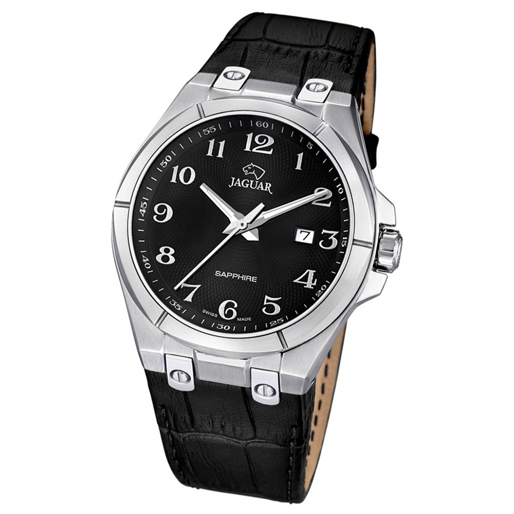 Jaguar Herren-Armbanduhr Daily Classic Saphirglas Quarz Leder schwarz UJ666/7
