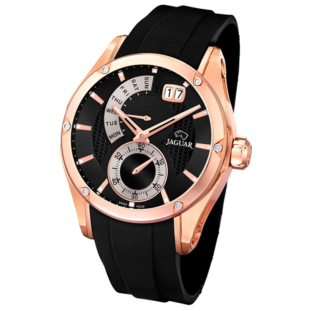 JAGUAR Herren-Armbanduhr Special Edition Saphirglas Quarz PU schwarz UJ679/1