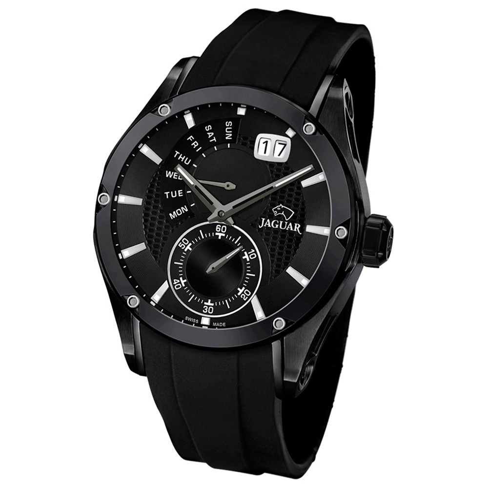JAGUAR Herren-Armbanduhr Special Edition Saphirglas Quarz PU schwarz UJ681/1