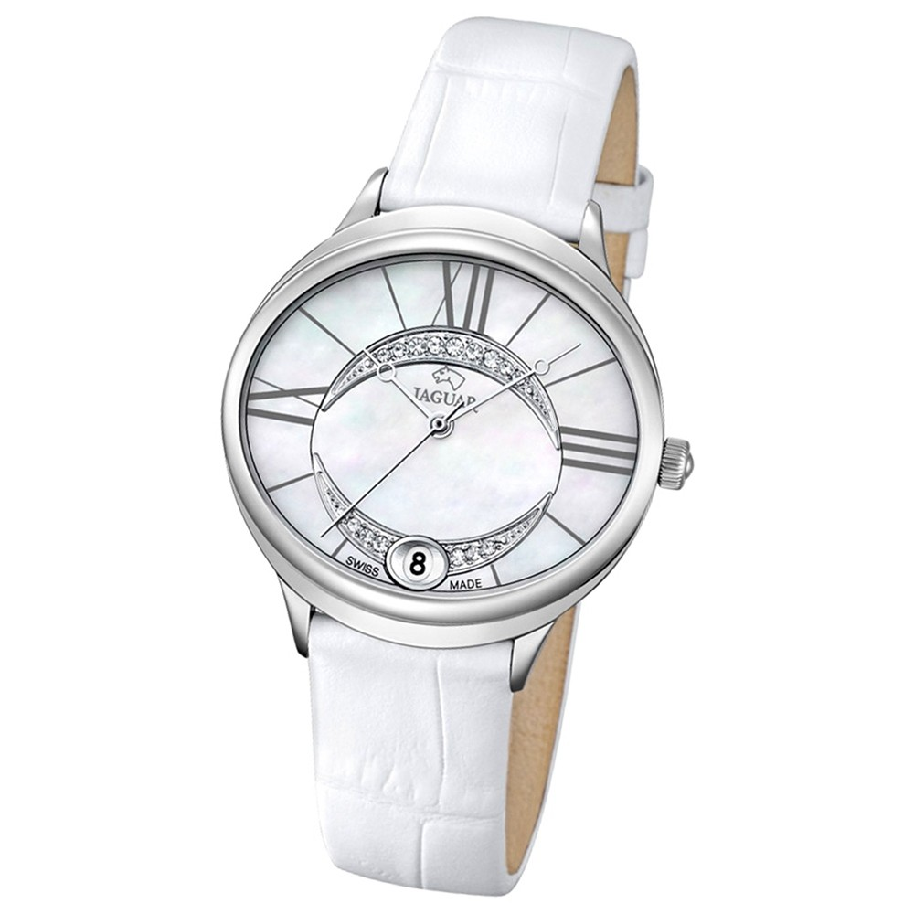JAGUAR Damen-Armbanduhr Clair de Lune Saphirglas Quarz Leder weiß UJ800/1