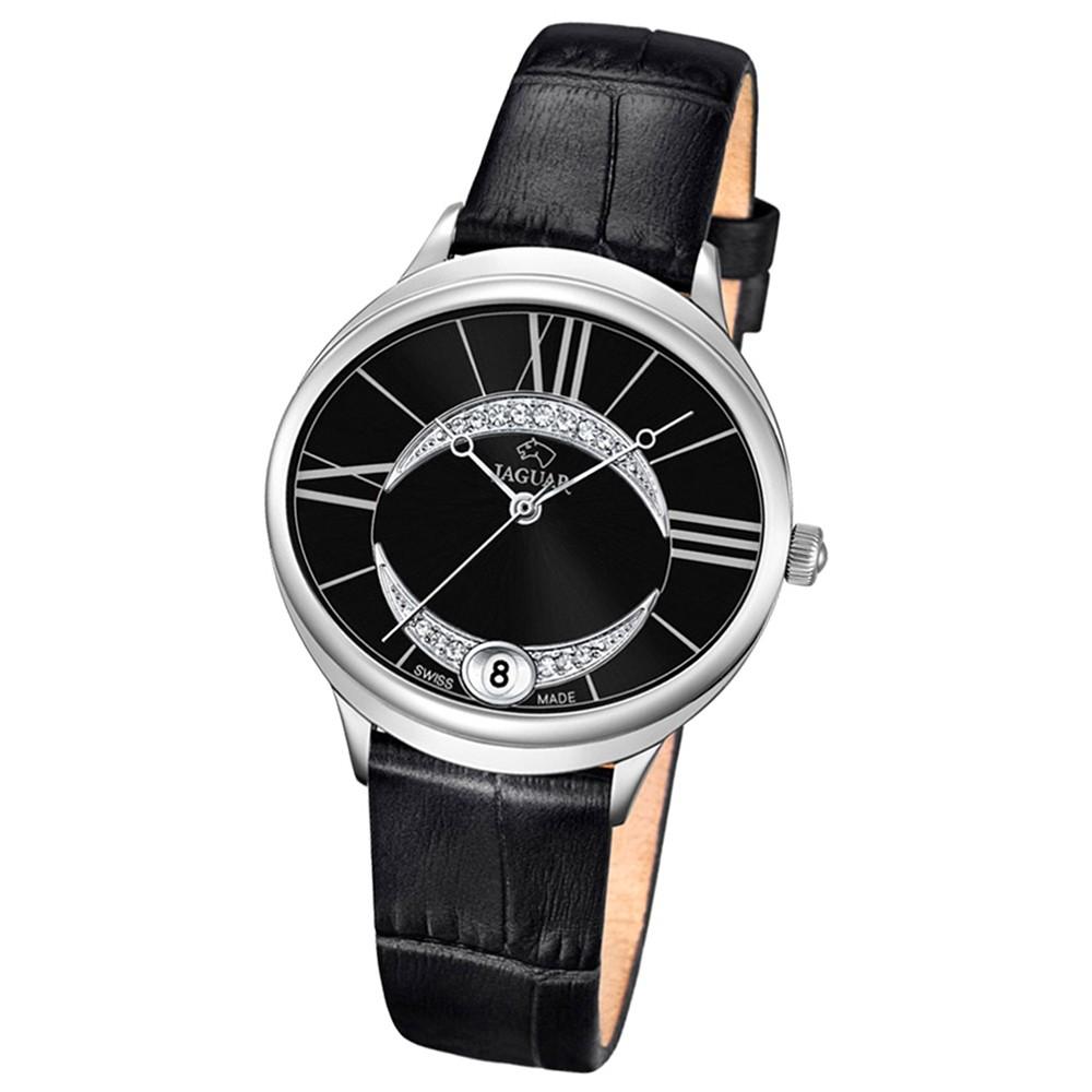 JAGUAR Damen-Armbanduhr Clair de Lune Saphirglas Quarz Leder schwarz UJ800/3