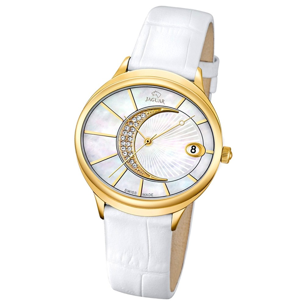 JAGUAR Damen-Armbanduhr Clair de Lune Saphirglas Quarz Leder weiß UJ803/1