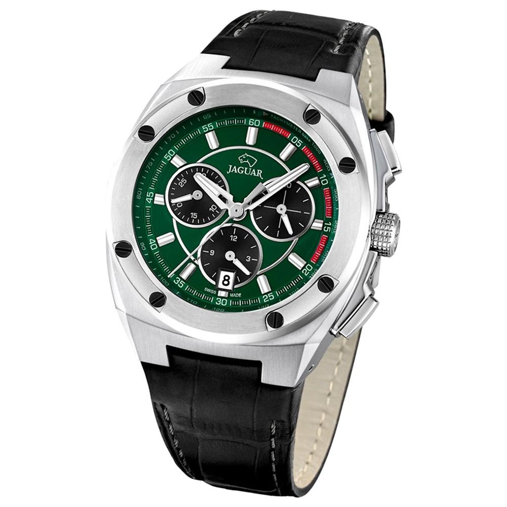 Jaguar Herren-Armbanduhr Executive Saphirglas Quarz Leder schwarz UJ806/2