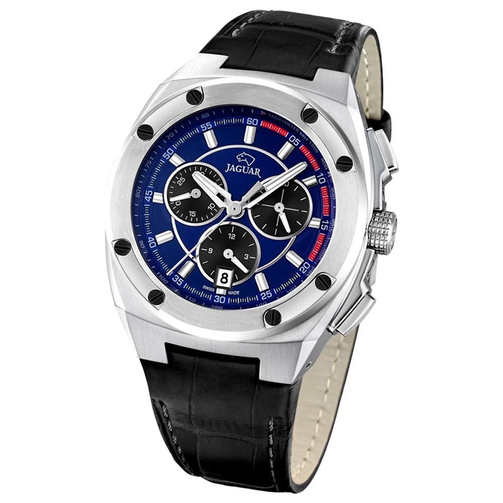 Jaguar Herren-Armbanduhr Executive Saphirglas Quarz Leder schwarz UJ806/3