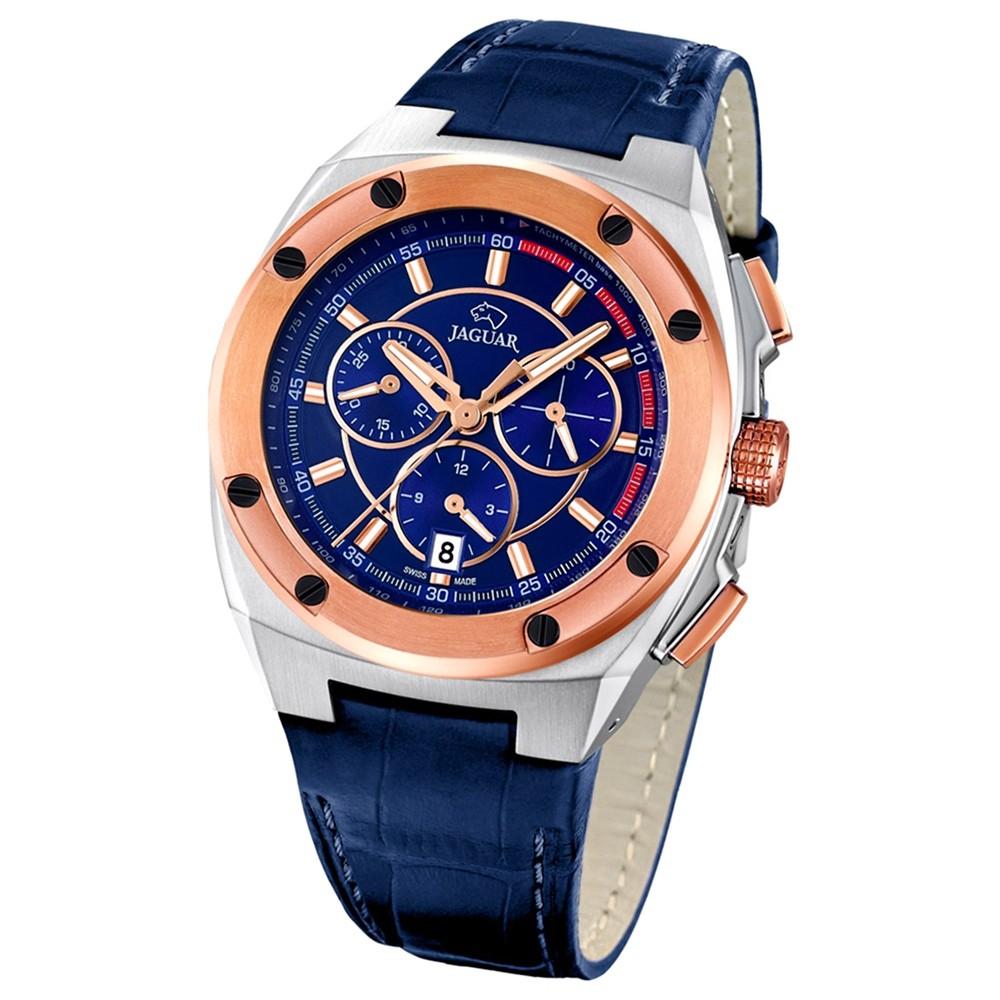 Jaguar Herren-Armbanduhr Executive Saphirglas Quarz Leder blau UJ809/3