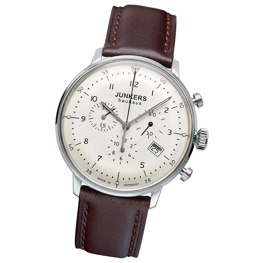 JUNKERS Herren-Uhr Quarzuhr Chrono Bauhaus 6086-5 Leder-Armbanduhr UJU6086/5