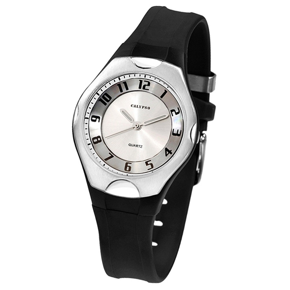 CALYPSO Damen-Armbanduhr Elegant analog Quarz-Uhr PU schwarz UK5162/1