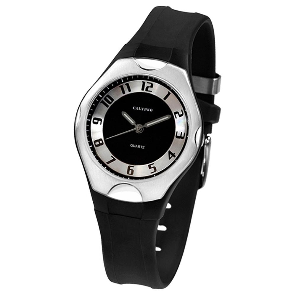 CALYPSO Damen-Armbanduhr Elegant analog Quarz-Uhr PU schwarz UK5162/2