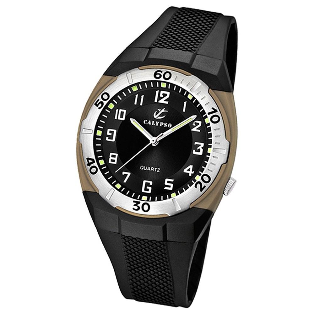 CALYPSO Herren-Armbanduhr Sport analog Quarz-Uhr PU schwarz UK5214/2