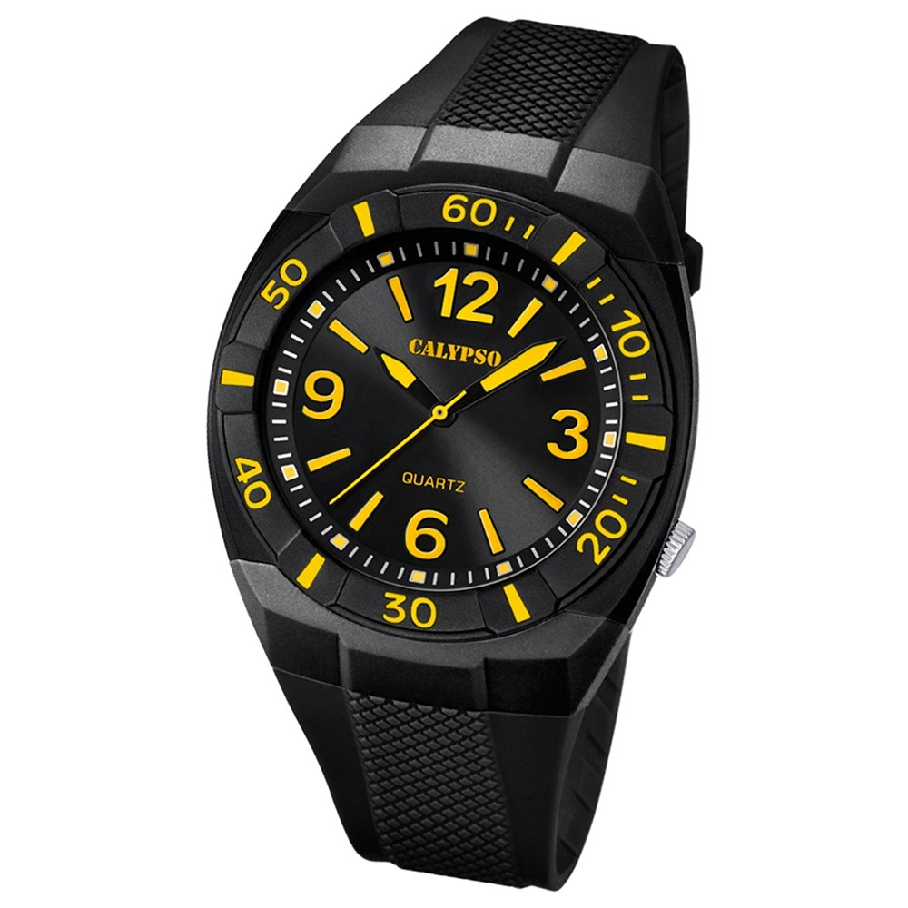 CALYPSO Kinder-Armbanduhr Fashion analog Quarz-Uhr PU schwarz UK5238/5