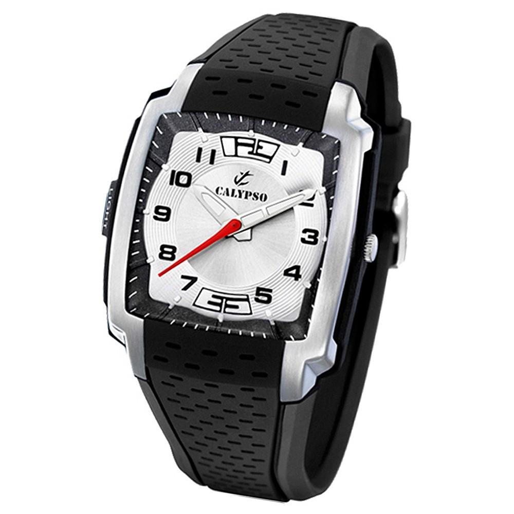 Calypso Herrenuhr schw--silb. Analog Calypso Uhren Kollektion UK5537/7