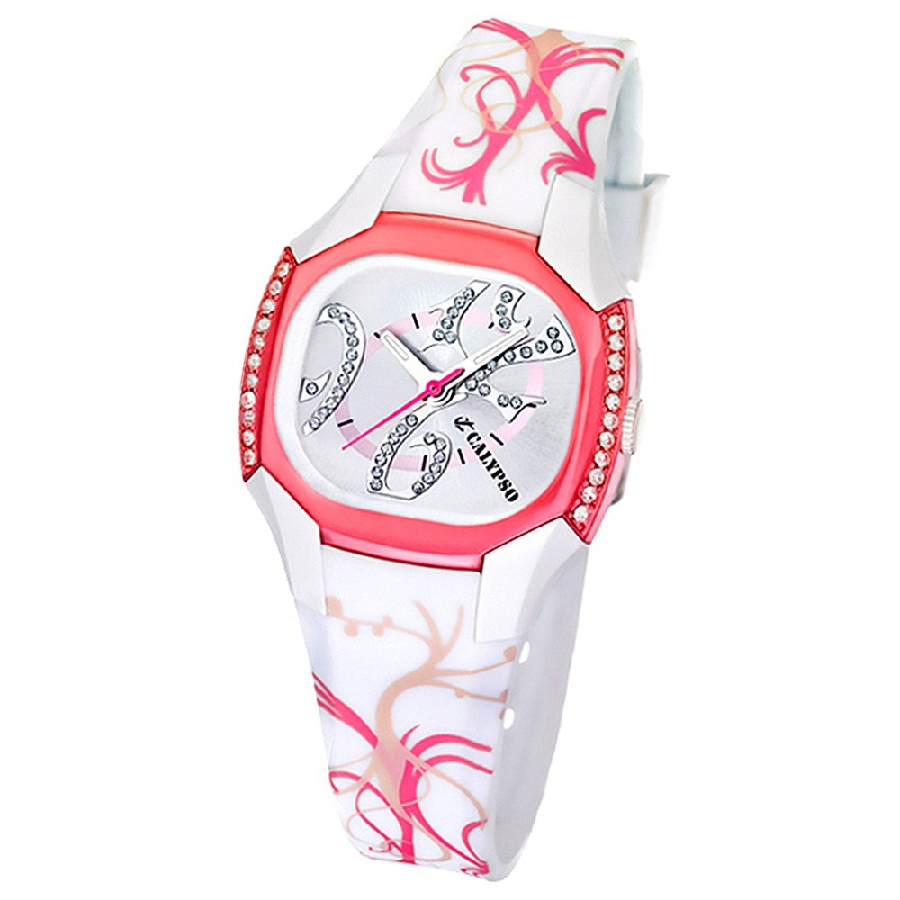 Calypso Damenuhr weiß-rosa Analog Calypso Uhren Kollektion UK5547/3