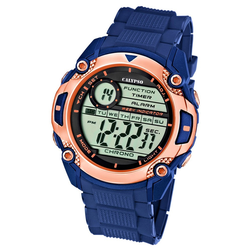 Calypso Herren-Armbanduhr Multifunktion digital Quarz PU blau UK5577/8