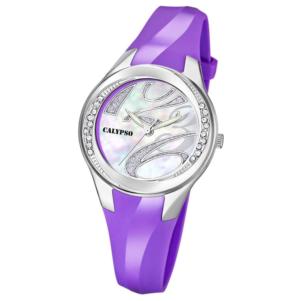 CALYPSO Damen-Armbanduhr Fashion analog Quarz-Uhr PU lila UK5598/4