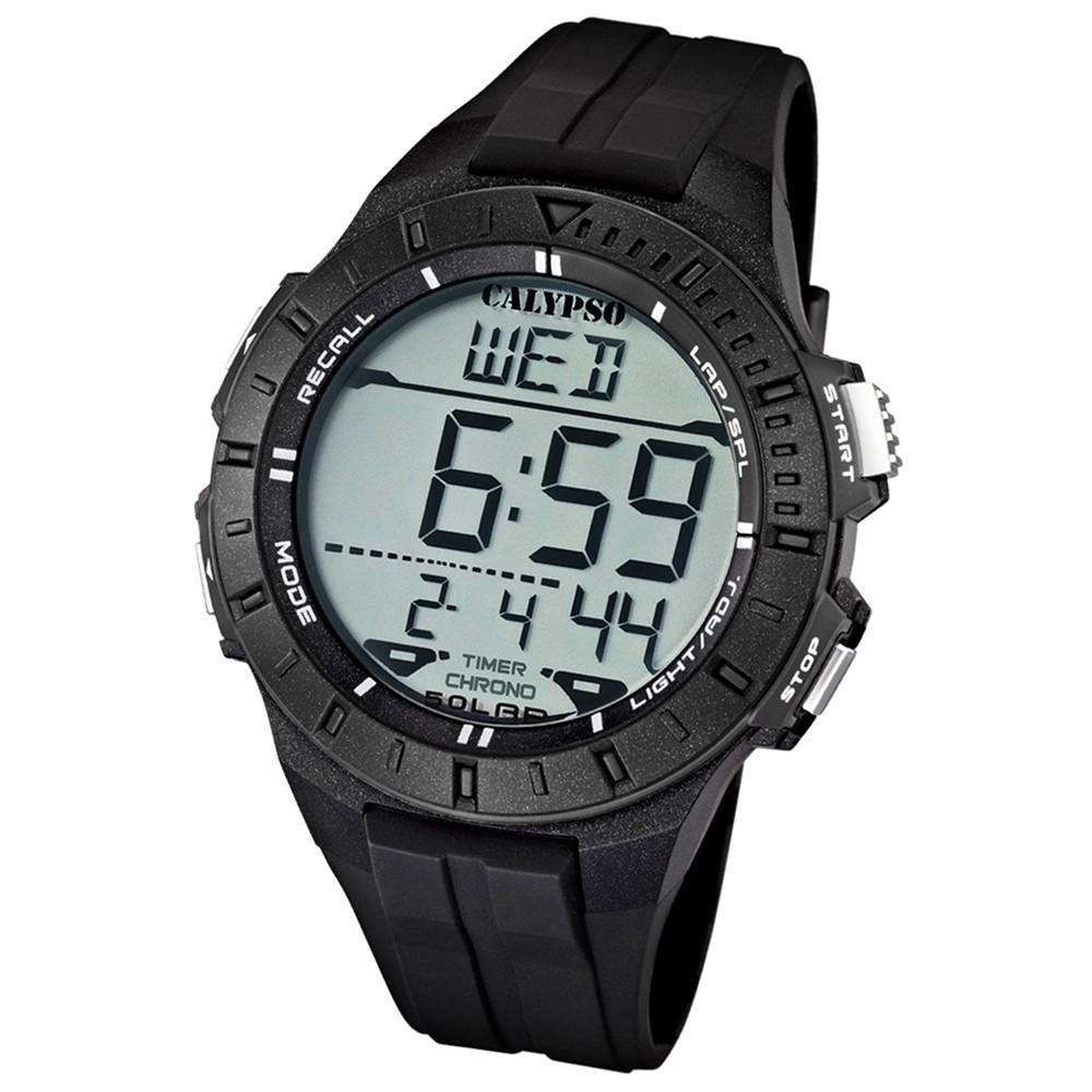 CALYPSO Herren-Armbanduhr Sport Chronograph Quarz-Uhr PU schwarz UK5607/6