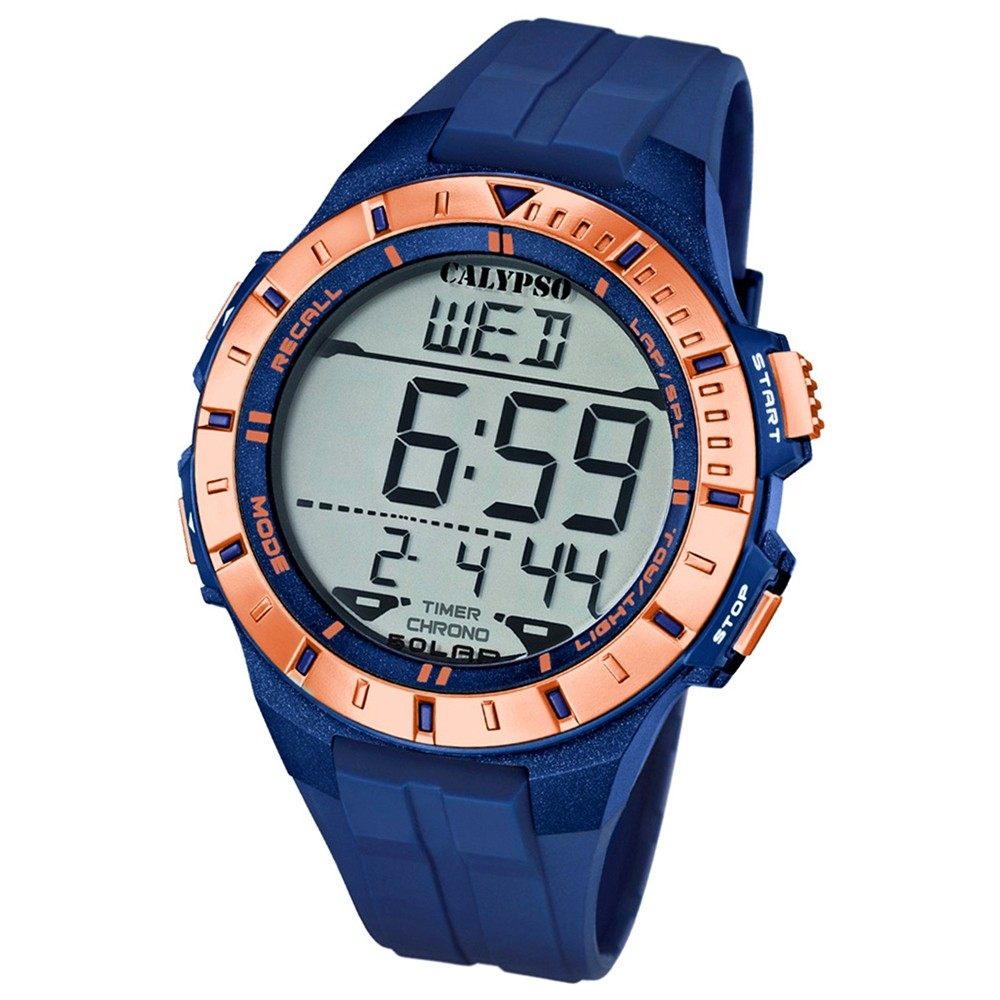Calypso Herren-Armbanduhr Multifunktion digital Quarz PU blau UK5607/7