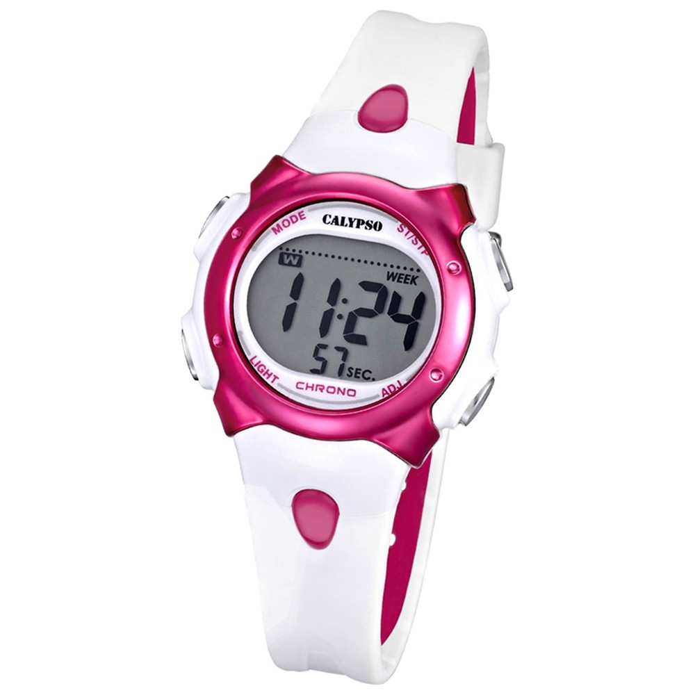 CALYPSO Damen-Armbanduhr Fashion Chronograph Quarz-Uhr PU weiß pink UK5609/3