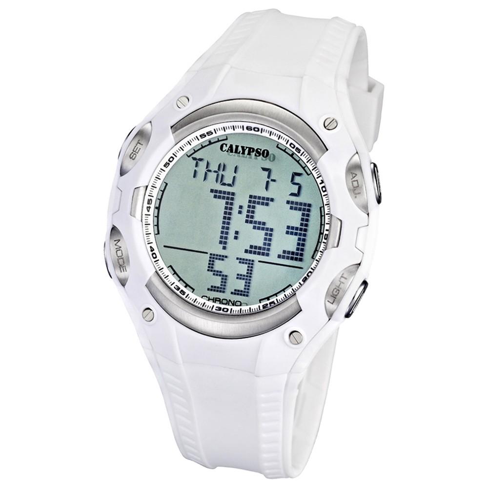 CALYPSO Herren-Armbanduhr Fashion Chronograph Quarz-Uhr PU weiß UK5614/1