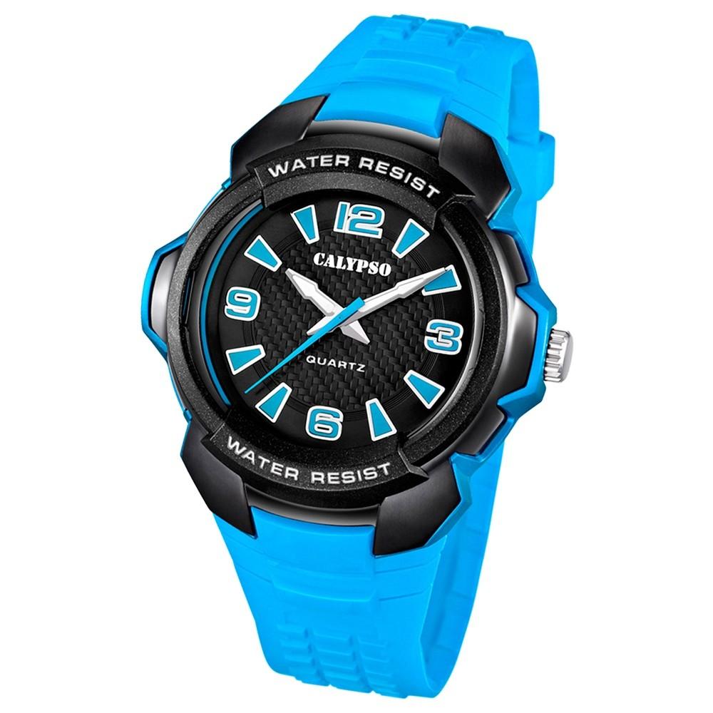 Calypso Herrenuhr schwarz, blaues Armband Analog Uhren Kollektion UK5635/4