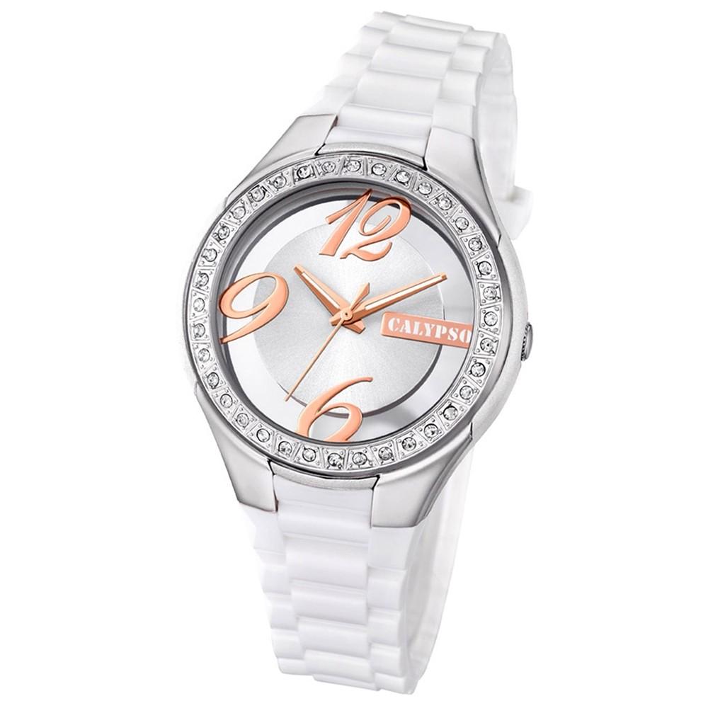 Calypso Damen-Armbanduhr Trendy analog Quarz PU weiß UK5679/1