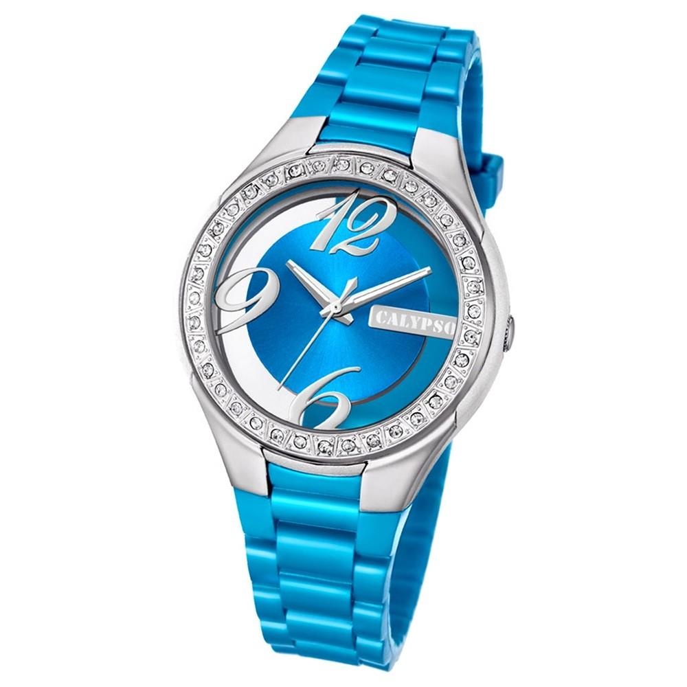Calypso Damen-Armbanduhr Trendy analog Quarz PU hellblau UK5679/2