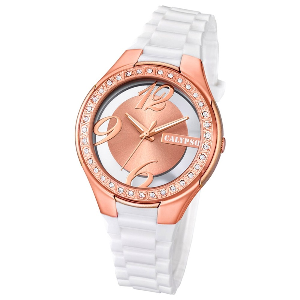 Calypso Damen-Armbanduhr Trendy analog Quarz PU weiß UK5679/7