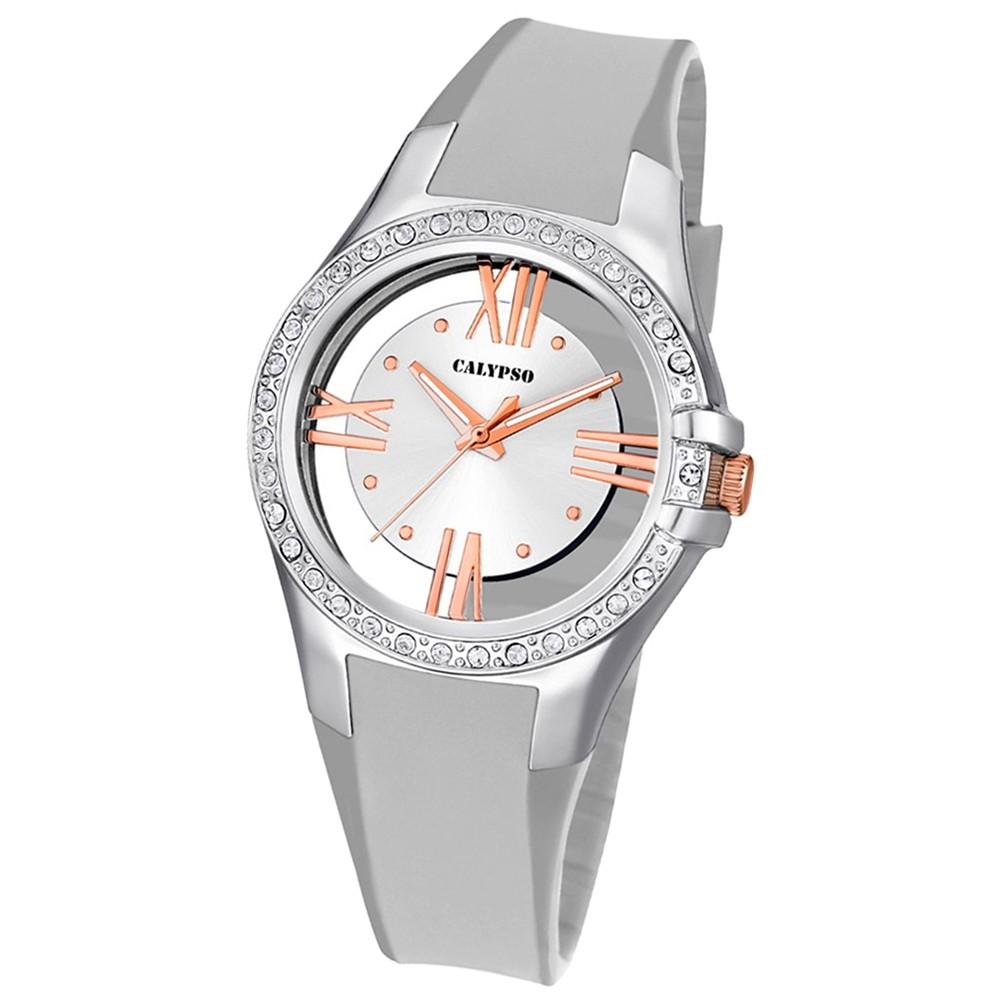 Calypso Damen-Armbanduhr Trendy analog Quarz PU silber UK5680/1