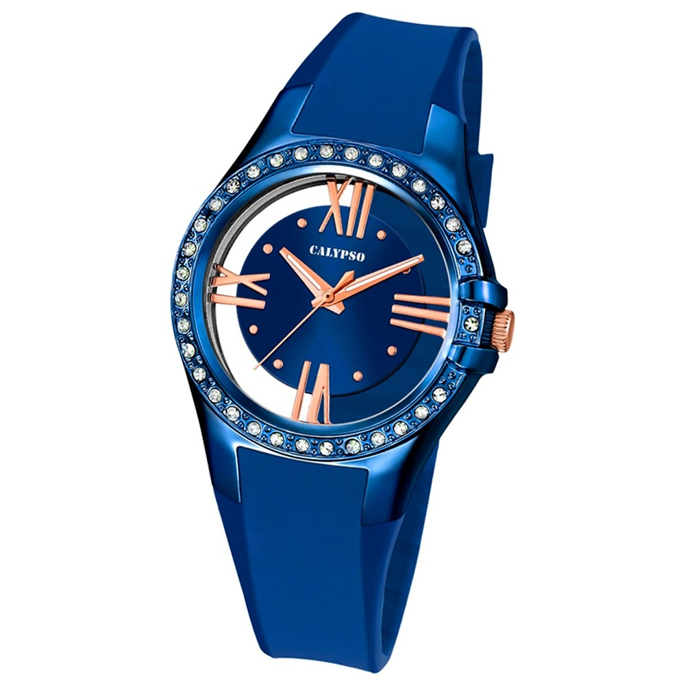 Calypso Damen-Armbanduhr Trendy analog Quarz PU blau UK5680/6