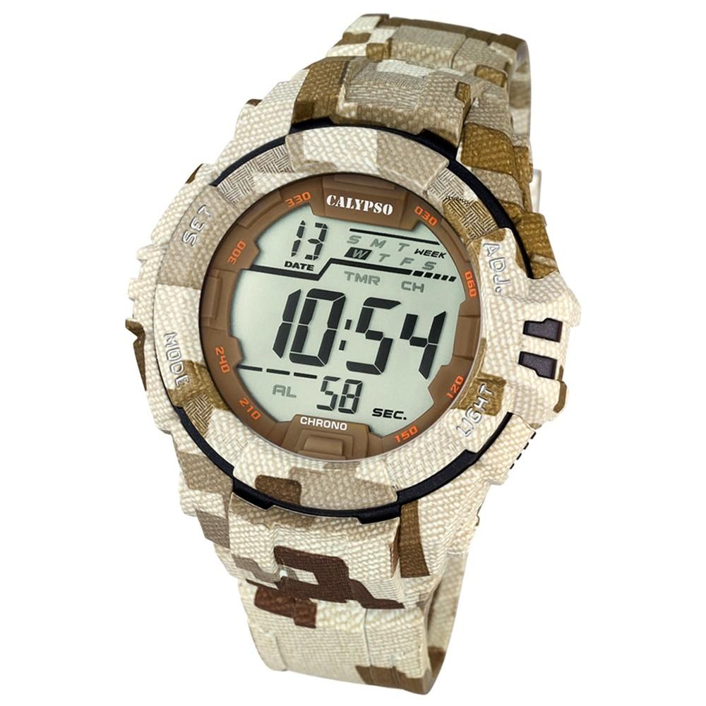 CALYPSO Herren-Armbanduhr Sport Chronograph Quarz-Uhr braun beige UK5681/2