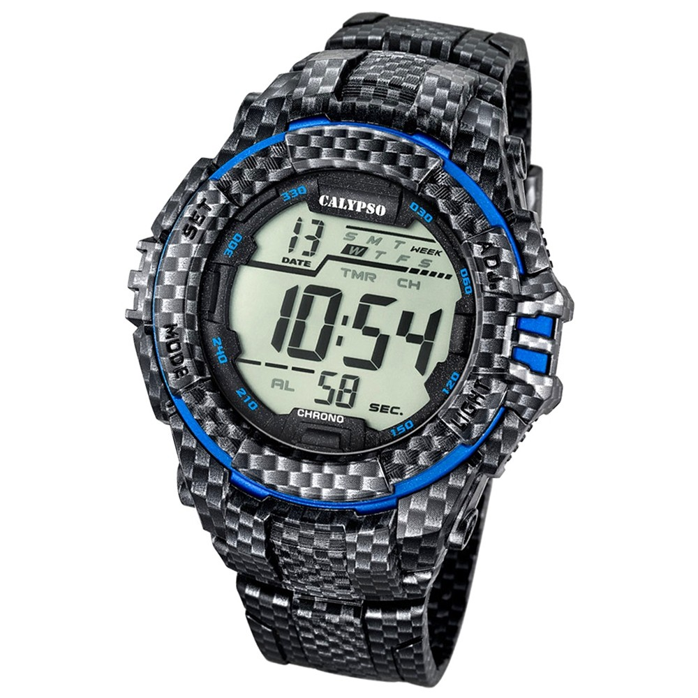 CALYPSO Herren-Armbanduhr Sport Chronograph Quarz-Uhr PU carbon blau UK5681/5