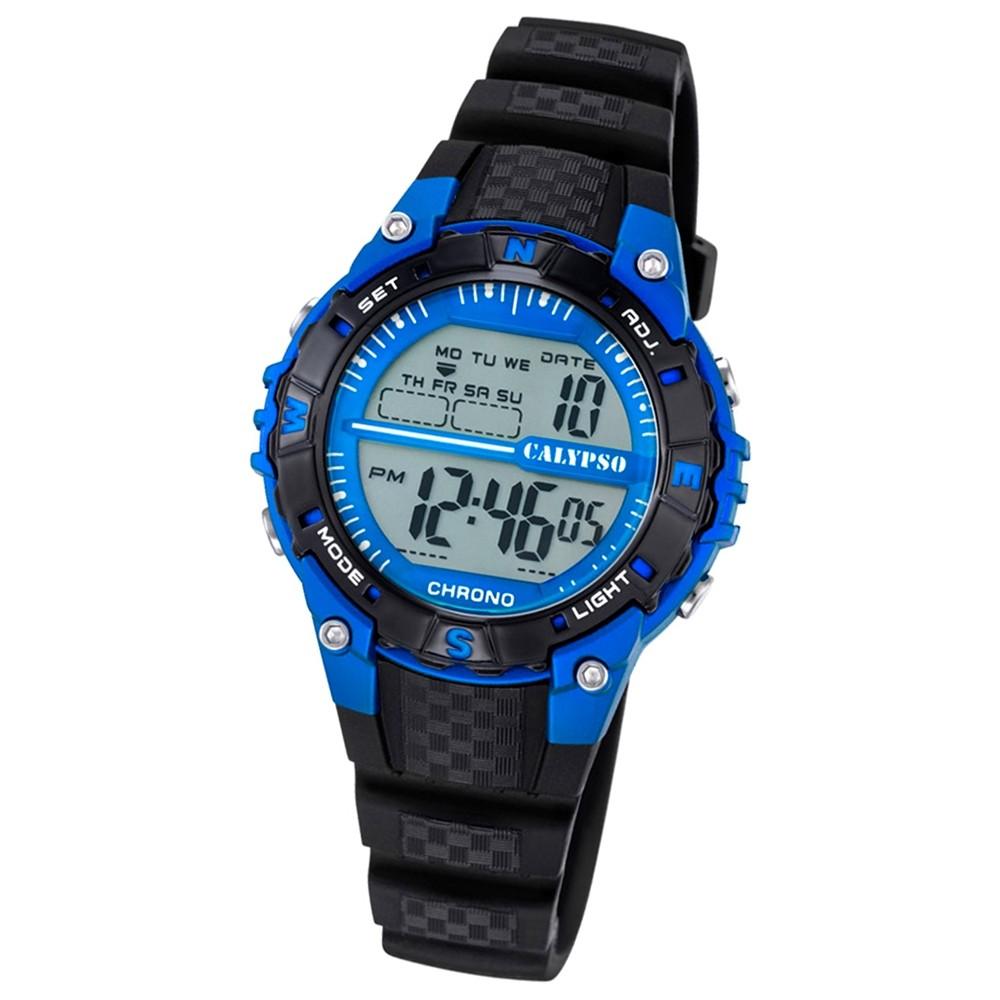 Calypso Damen Herren-Armbanduhr Dame/Boy digital Quarz PU schwarz UK5684/5