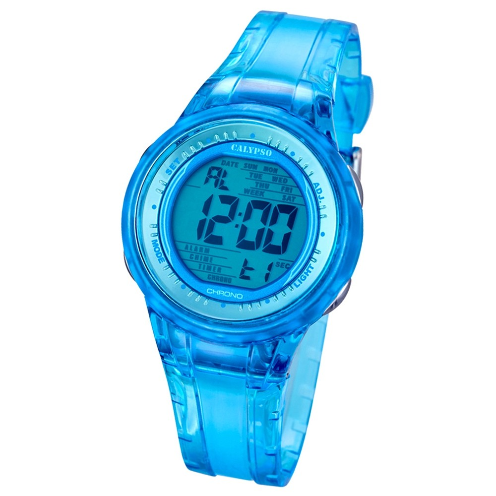 CALYPSO Damen-Armbanduhr Sport Chronograph Quarz-Uhr PU blau UK5688/1
