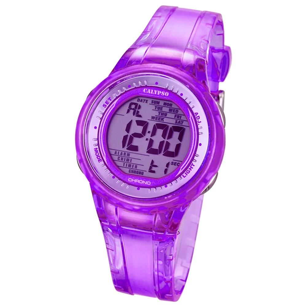 CALYPSO Damen-Armbanduhr Sport Chronograph Quarz-Uhr PU lila UK5688/3