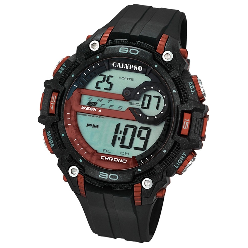 CALYPSO Herren-Armbanduhr Sport Chronograph Quarz-Uhr PU schwarz UK5690/5