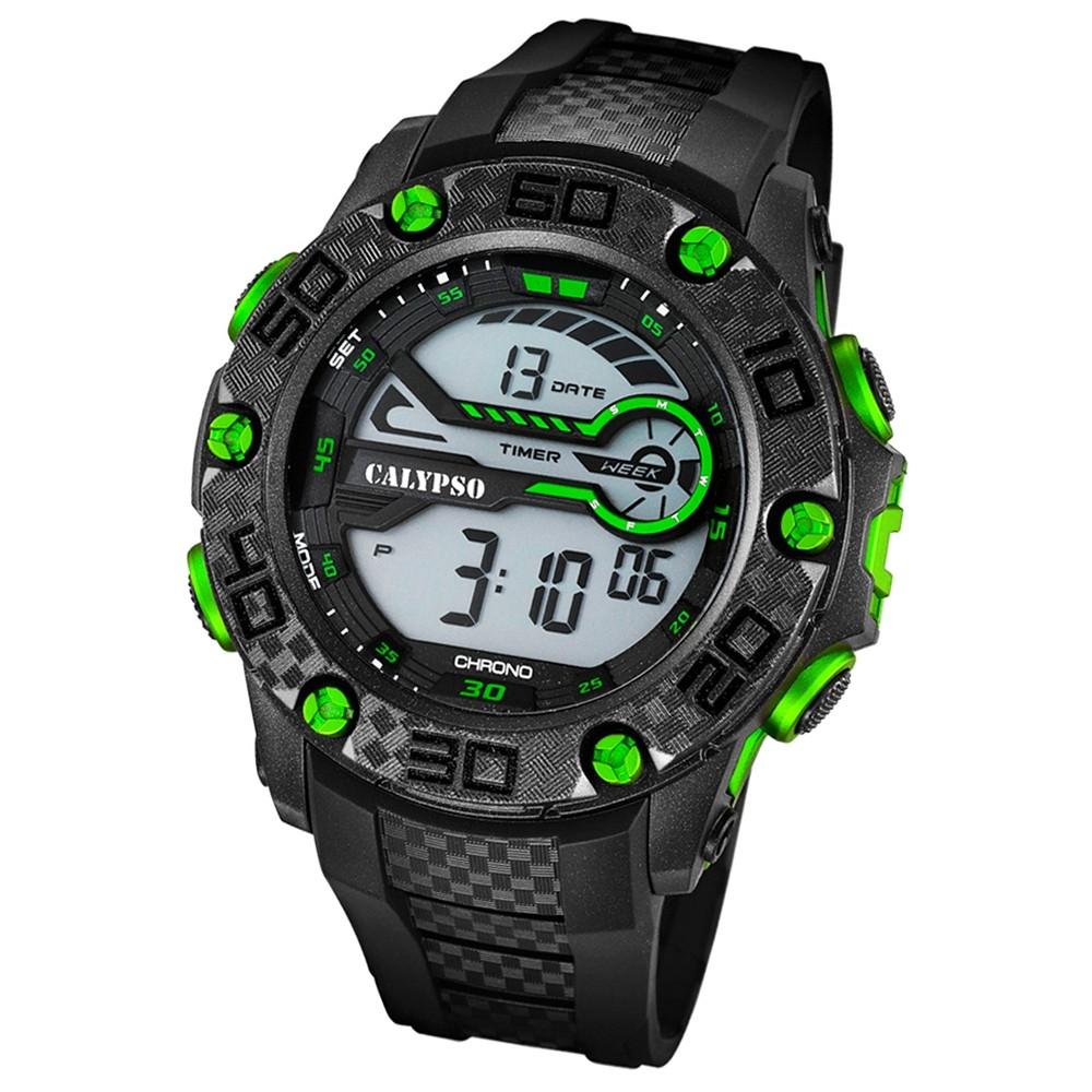 CALYPSO Herren-Armbanduhr Sport Chronograph Quarz-Uhr PU schwarz UK5691/6
