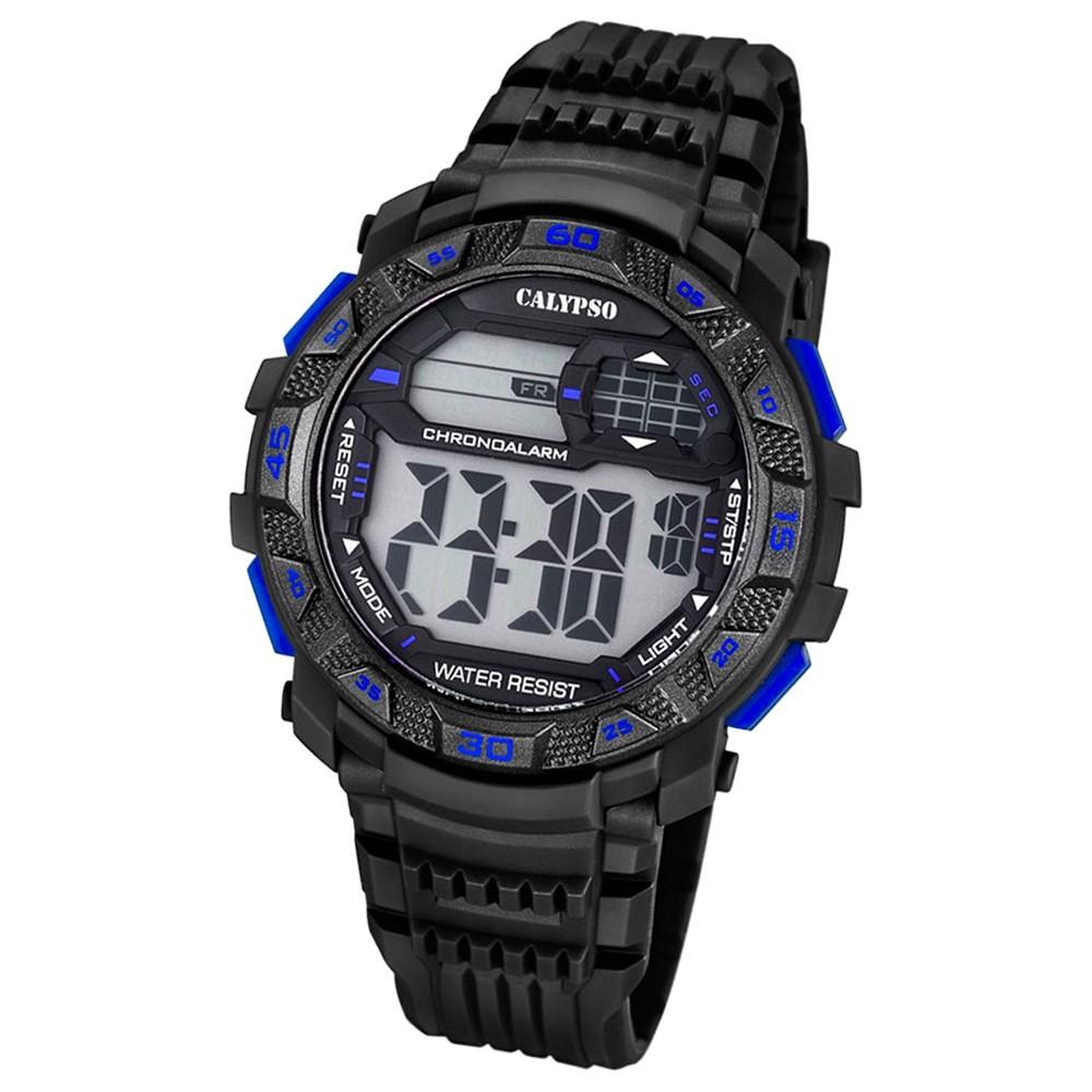 CALYPSO Herren-Armbanduhr Sport Chronograph Quarz-Uhr PU schwarz UK5702/7