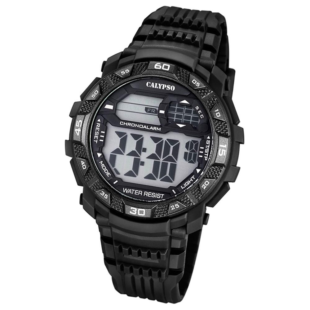 CALYPSO Herren-Armbanduhr Sport Chronograph Quarz-Uhr PU schwarz UK5702/8