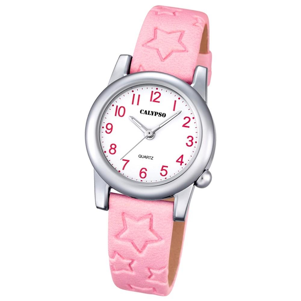 Calypso Kinder-Uhr Sterne Junior Collection analog Quarz Leder rosa UK5708/2