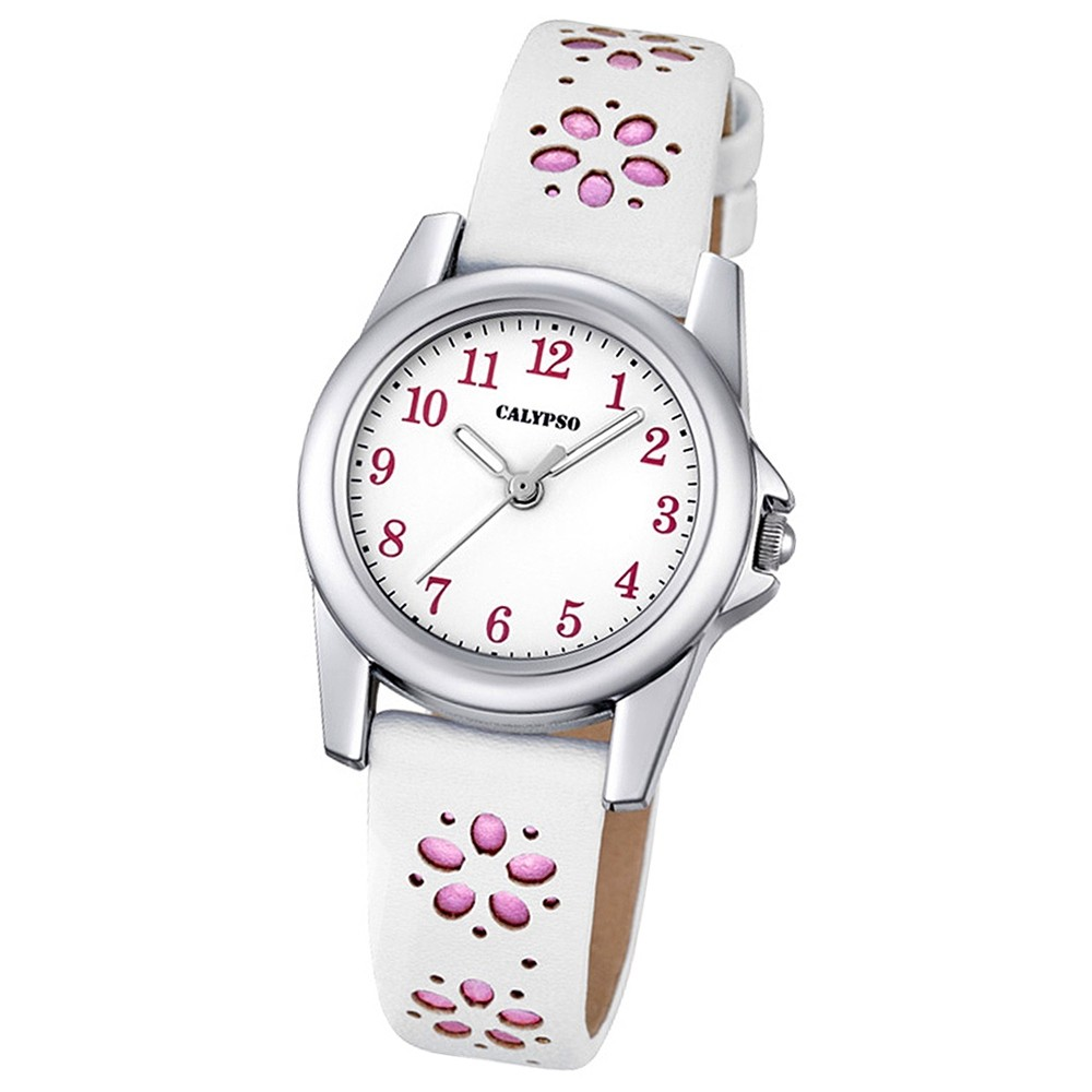 Calypso Kinder-Uhr Blümchen Junior Collection analog Quarz Leder rosa UK5712/2