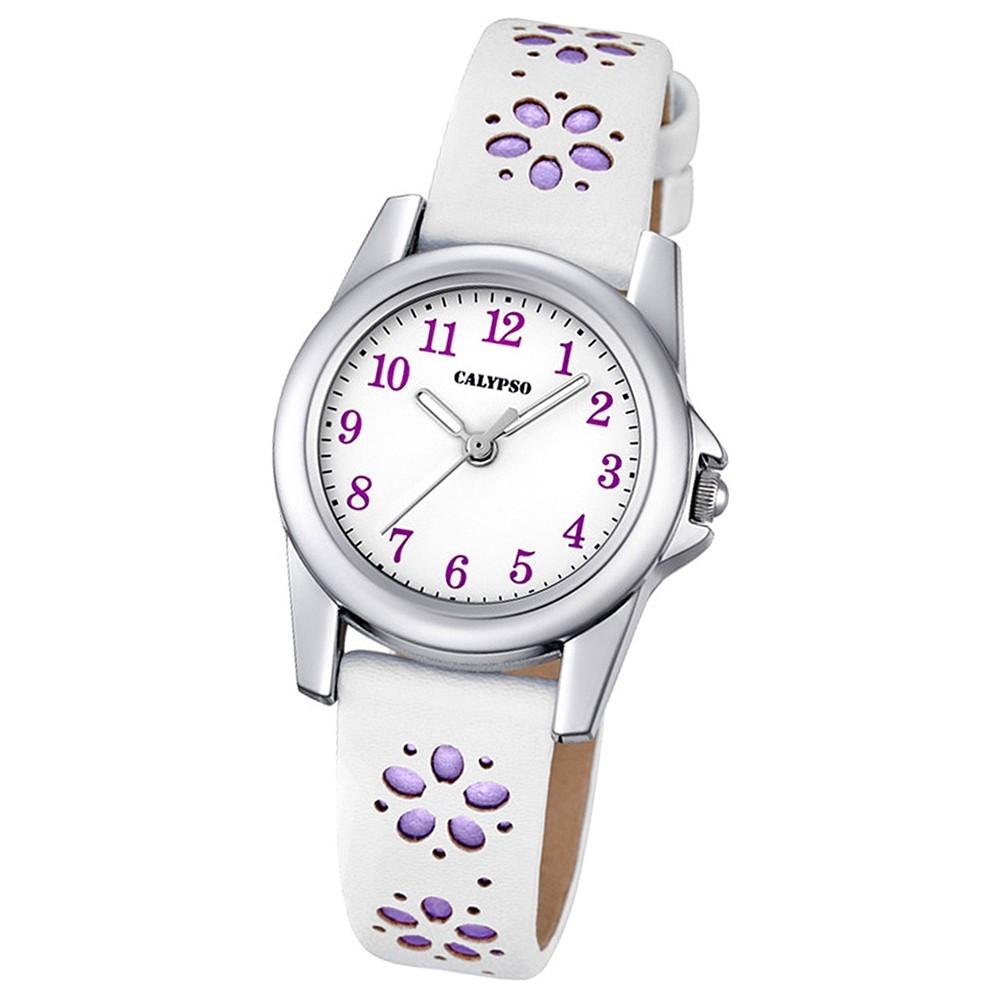 Calypso Kinder-Uhr Blümchen Junior Collection analog Quarz Leder lila UK5712/3