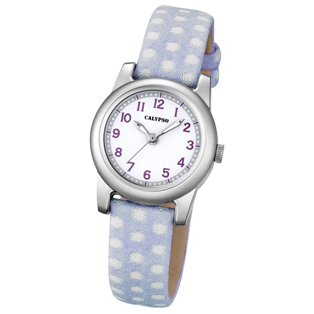 Calypso Kinder-Uhr Dots Punkte Junior analog Quarz Leder lila Jugenduhr UK5713/1