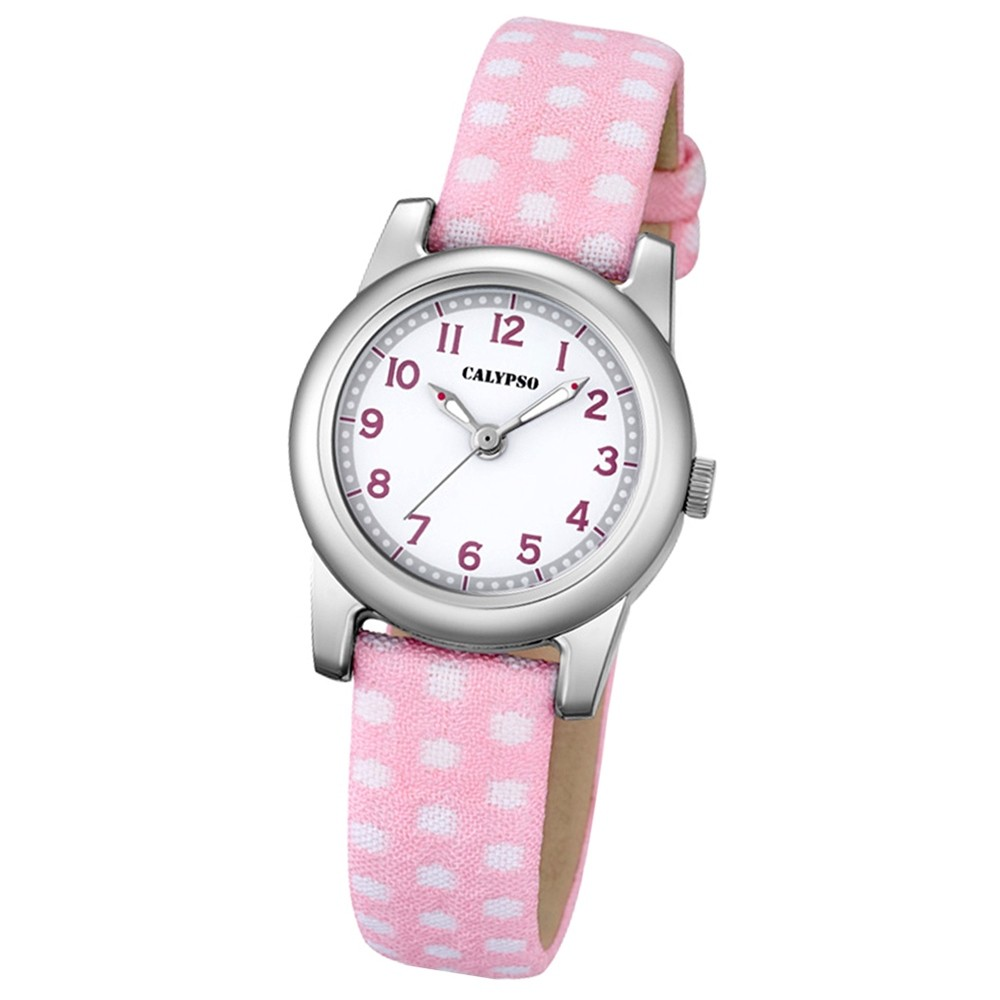 Calypso Kinder-Uhr Dots Punkte Junior analog Quarz Leder rosa Jugenduhr UK5713/2