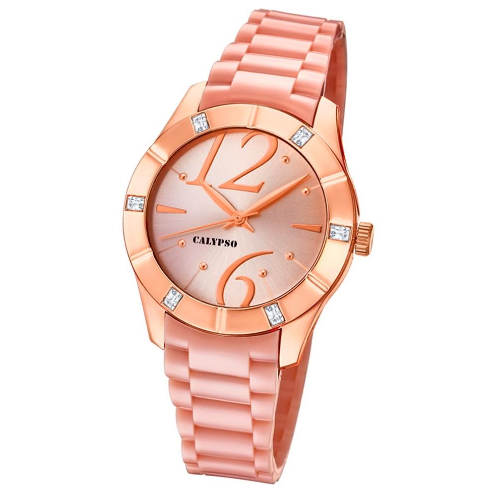 Calypso Armbanduhr Damen Trendy K5715/2 Quarzuhr PU rosé rosa UK5715/2