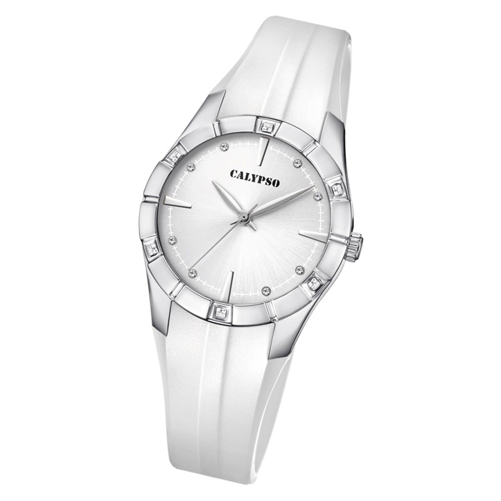Calypso Damen Armbanduhr Trendy K5716/1 Quarz-Uhr PU weiß UK5716/1
