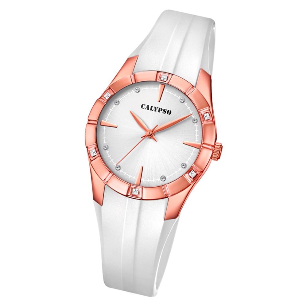 Calypso Damen Armbanduhr Trendy K5716/3 Quarz-Uhr PU weiß UK5716/3