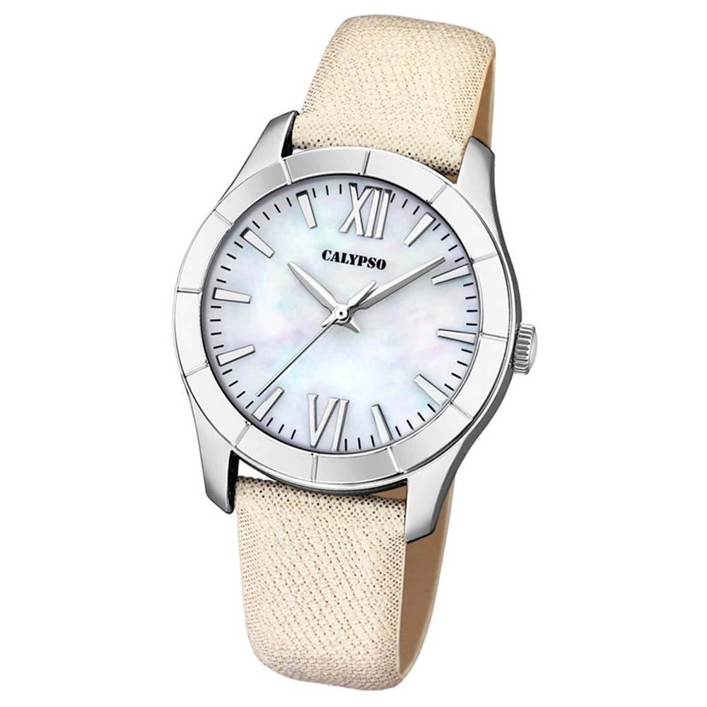 Calypso Damen-Armbanduhr Trendy analog Quarz Leder Textil weiß UK5718/1