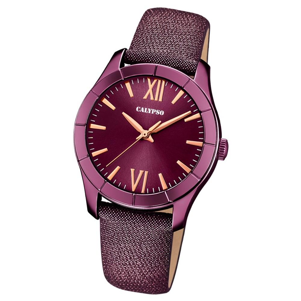 Calypso Damen-Armbanduhr Trendy analog Quarz Leder Textil lila UK5718/5